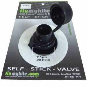 Fixmykite.com Cabrinha Airlock2 Screw-Cap Valve & Slingshot One Pump System Ventil auf einem 7.5cm /3inch Tear-Aid Patch